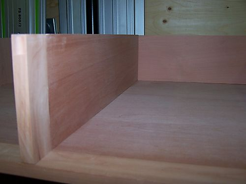 Close up of inside the drawer space