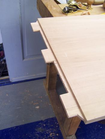 Tenons on cabinet top